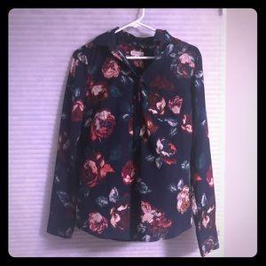 Merona flower long sleeve blouse